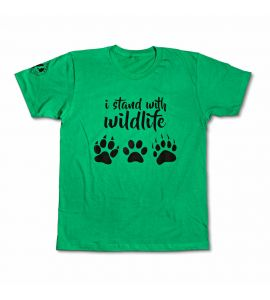 Green wildlife paw print t-shirt