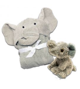 Kids Hooded Elephant Towel & Elephant Stuffed Animal