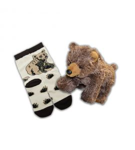 "Grizzly Bear Socks and 11"" Stuffed Animal"