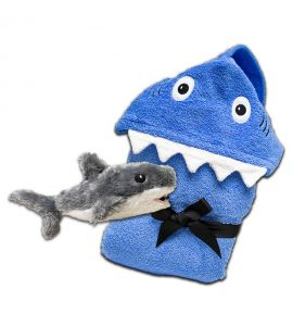Kids Hooded Shark Towel & Shark Stuffed Animal