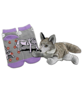 Wolf Slipper Socks and Stuffed Animal